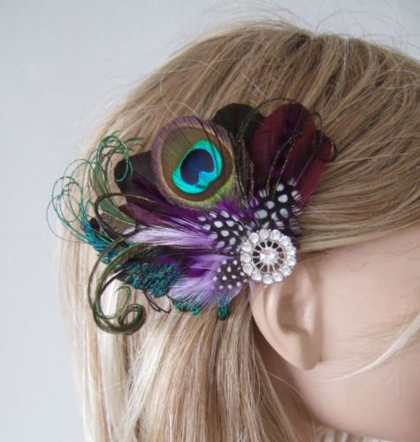 "Bridal Prom Aubergine Purple Lilac Peacock Feathers Fascinator Hair Clip ""Rena"""